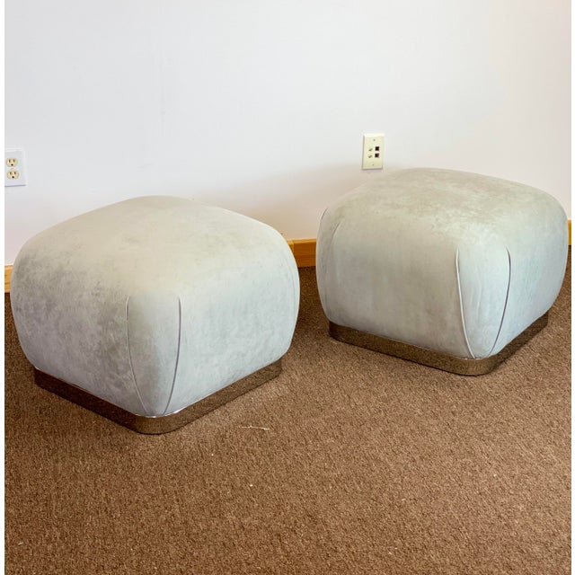 Gray 1980s Weiman Reupholstered Souffle Poufs - a Pair For Sale - Image 8 of 8