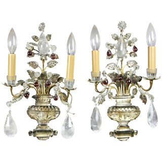 Pair of Rock Crystal and Amethyst Sconces Signed Baguès, Paris For Sale
