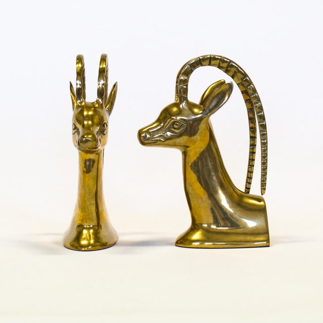 Brass Ibex Bookends - A Pair - Image 4 of 7