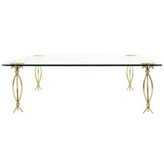 1958 Italian Brass Cocktail Table with Glass Top For Sale