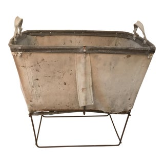 Vintage Industrial Canvas Mail or Laundry Bin With Metal Stand For Sale