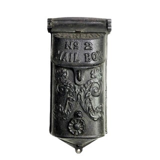 Vintage Victorian Style Black Cast Iron Architectural Ornate Mail Box For Sale