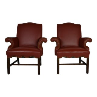 Chippendale Leather Armchairs - a Pair For Sale