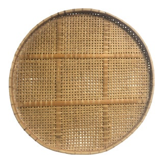 "Large 35"" Round Split Reed Basketweave Serving Tray For Sale"