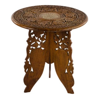 Antique Anglo-Indian Hand-Carved Folding Side Table For Sale