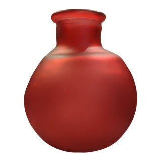 Blown Recycled Ruby Red Bulbous Floor Vase For Sale