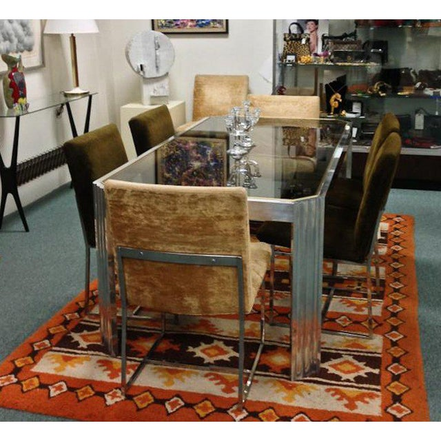 1970 Mid-Century Modern Italian Polished Aluminum and Glass Dining Table For Sale In Richmond - Image 6 of 7