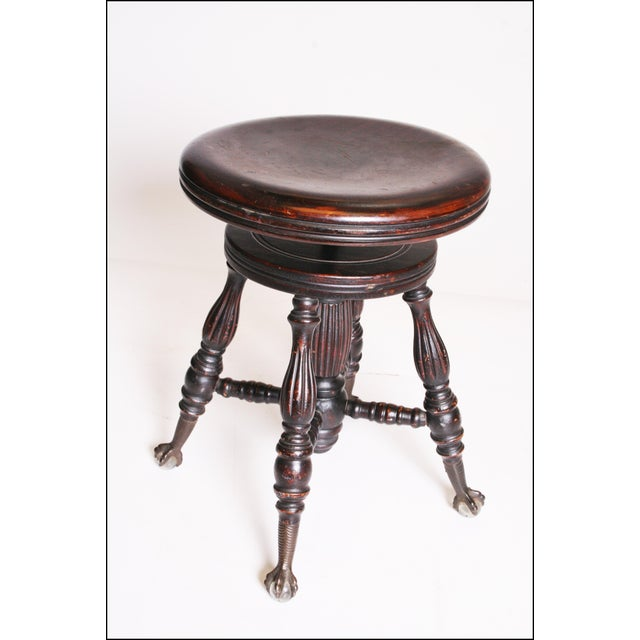 Cast Iron Victorian Wood Swivel Piano Stool with Ball & Claw Feet For Sale - Image 7 of 11