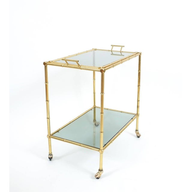 French Faux Bamboo Brass Bar Cart with Removable Glass Tray For Sale - Image 3 of 7