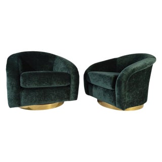 Jay Spectre Swivel Club Chairs With Solid Brass Sheet Bases For Sale
