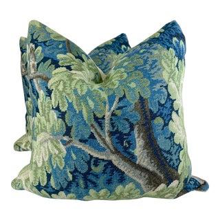 "Cowtan & Tout ""Richmond"" in Green/Blue Linen 22"" Pillows-A Pair"