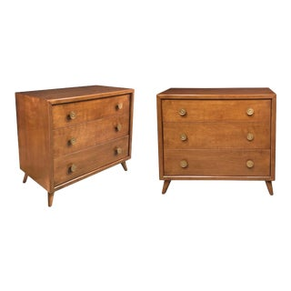 John Stuart Mid-Century 3-Drawer Bachelor Chest Set of Bedside Cabinets - a Pair For Sale