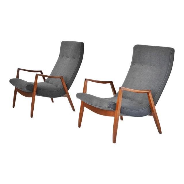 Milo Baughman Pair of Scoop Lounge Chairs - Image 1 of 7