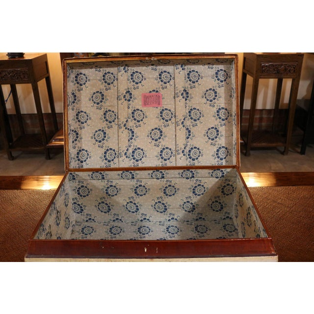 Wood Chinese White Leather Trunk For Sale - Image 7 of 8