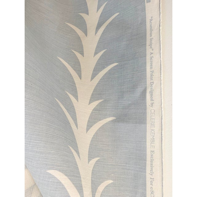 18 yards of Schumacher Acanthus Stripe Sky fabric. The fabric is 55% linen and 45% cotton. 55 inches wide Horizontal...