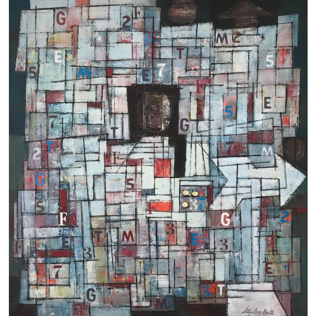 Canvas Stanley Bate, Newstand Painting, Circa 1960 For Sale - Image 7 of 7