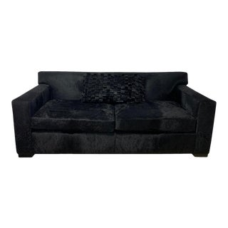2-Seat Sofa Upholstered in Black Cow-Hide Leather by Cain Modern For Sale