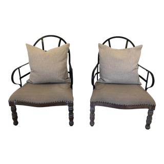 Wood & Metal Strap Lounge Chairs - a Pair For Sale