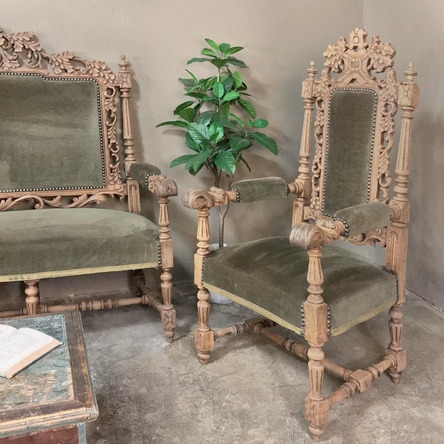 Late 19th Century Pair 19th Century Black Forest Stripped Oak Armchairs For Sale - Image 5 of 11