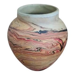 1970s Red-Orange Nemadji Vase For Sale