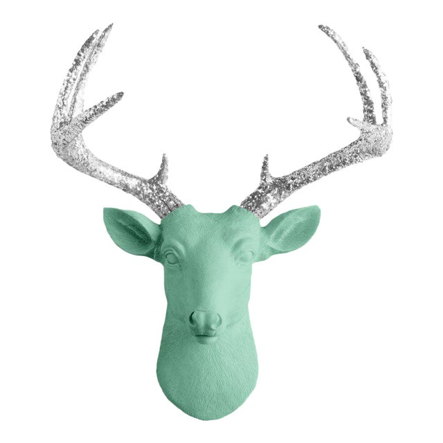 Wall Charmers Mint & Silver Faux Taxidermy Mini Deer Head Mount For Sale