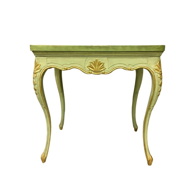 20th Century Louis XV Green Painted and Parcel Gilt Side Table For Sale