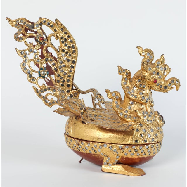 Hintha Burmese Bird-Shaped Betel Gold Lacquered Boxes - Set of 3 For Sale - Image 11 of 12