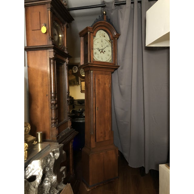 Wood Antique Early American Grandfather Clock Attributed to Silas Parsons For Sale - Image 7 of 10