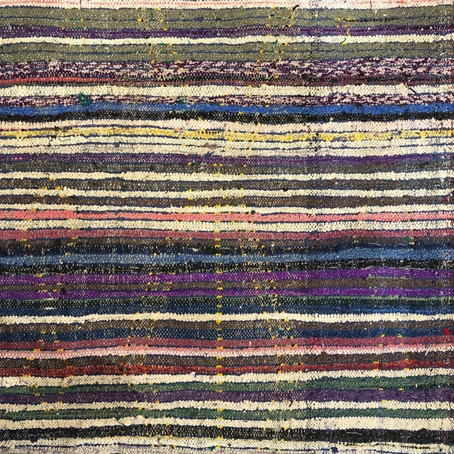 1960s Moroccan Blue Diamond Patterned Rug With Multi-Color Stripe Reverse For Sale - Image 4 of 5