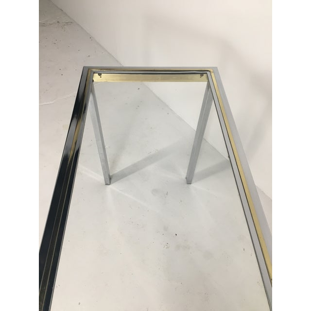 20th Century Minimalist Chrome and Glass Parsons Console Table With Brass Accents For Sale - Image 4 of 13