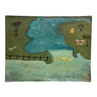 Circa 1960s Abstract Landscape Oil Painting For Sale