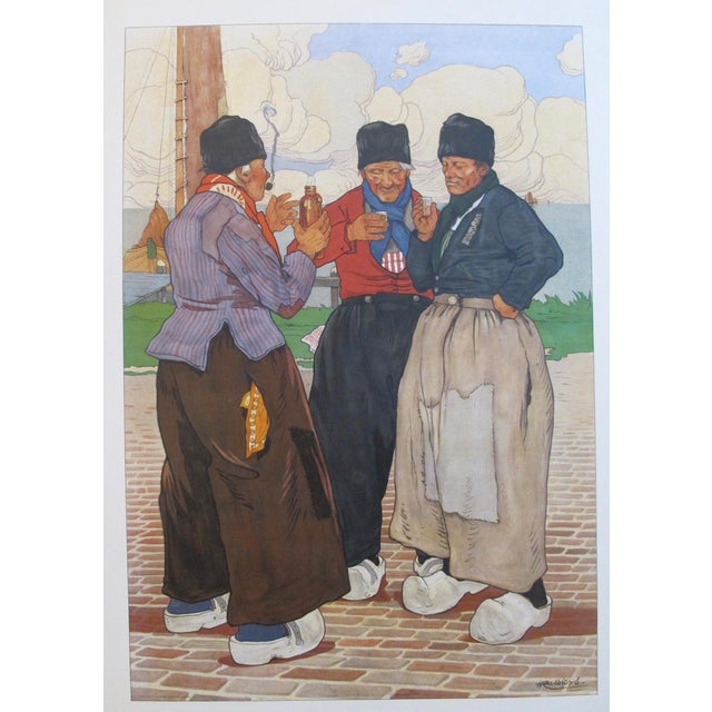 Art Nouveau Original Dutch Art Nouveau 1890 Henri Cassiers Poster, 3 Fishermen For Sale - Image 3 of 7