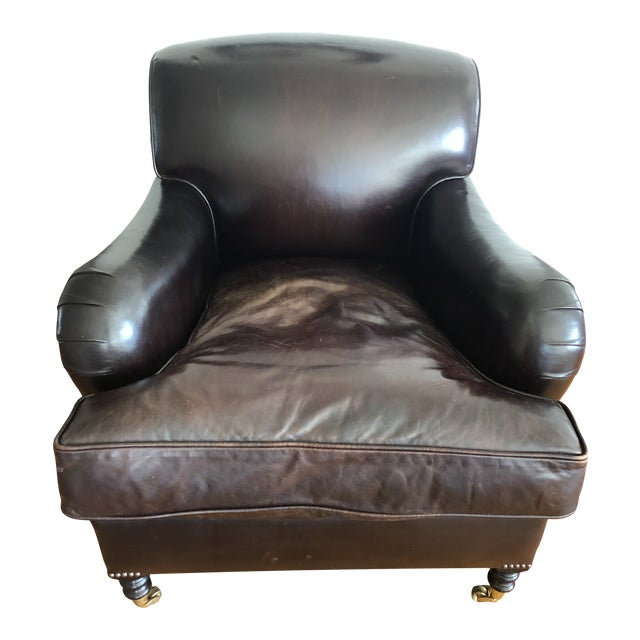 George Smith Standard Arm Signature Chair in Leather For Sale