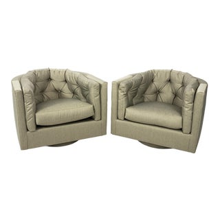 Milo Baughman Style Tufted Barrel Back Swivel Chairs- A Pair For Sale