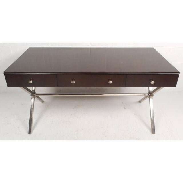 "Large Contemporary Modern Chrome ""X"" Base Desk - Image 4 of 10"