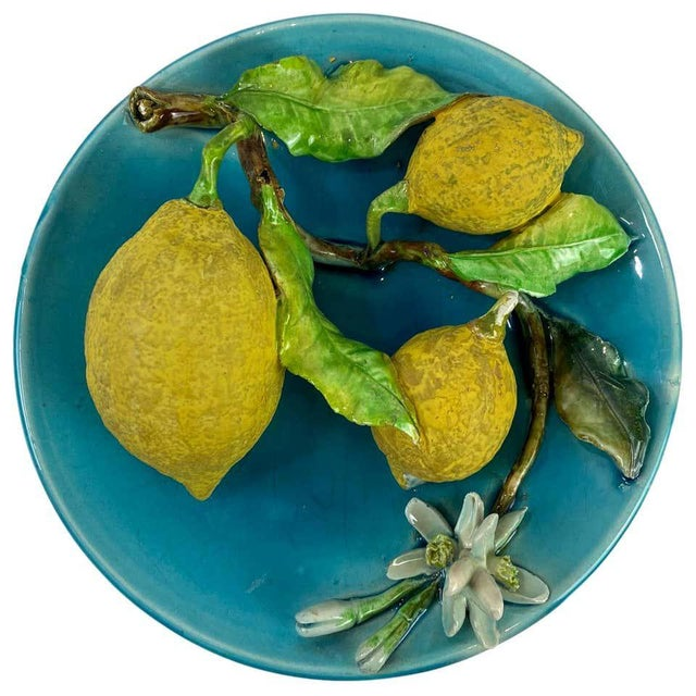 Menton French Majolica Wall Plaque Turquoise With Lemons by J. Saissi Circa 1880 For Sale - Image 13 of 13