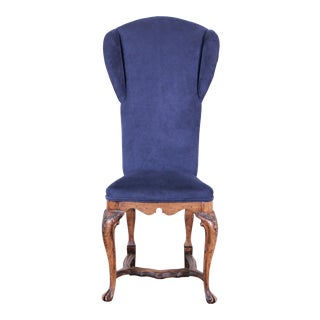 Vintage Ornate French High Back Royal Blue Upholstered Chair For Sale