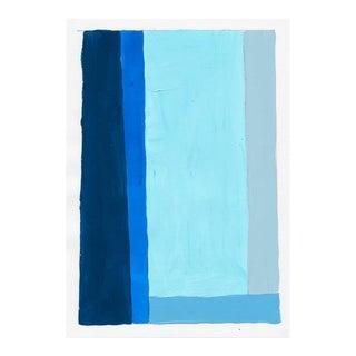 Contemporary Geometric Gray & Blue Painting