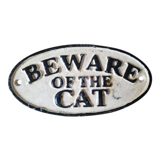 1990s Cast Iron Beware of the Cat Sign For Sale