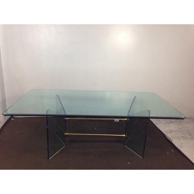 Mid-Century Modern French Tempered Glass Table - Image 2 of 4