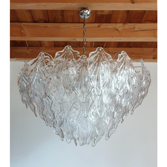 Boho Chic 1970s Mid Century Modern Murano Glass Leaves Chandelier For Sale - Image 3 of 11