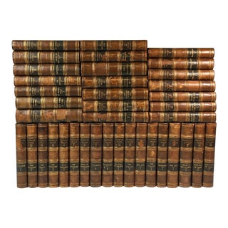 Antique Leather Books Waverly Novels by Sir Walter Scott - Set of 39 For Sale