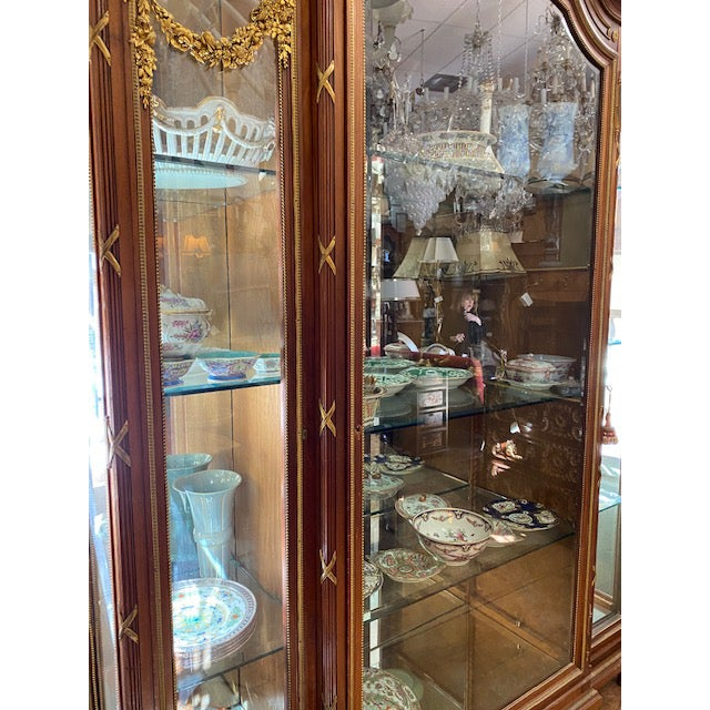 19th Century French Brozne Walnut and Bronze China Cabinet For Sale - Image 11 of 13