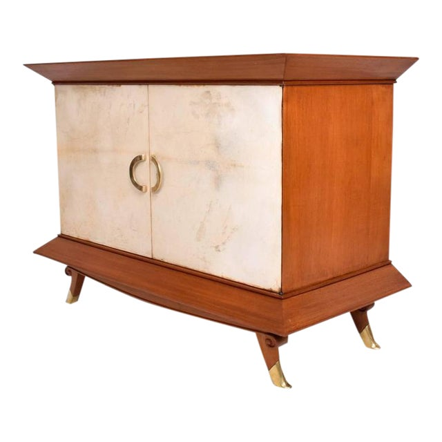 Mexican Modernist Cabinet With Parchment Doors For Sale