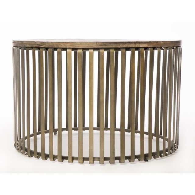 Metal Cage Oak Topped Cocktail Table - Image 2 of 3