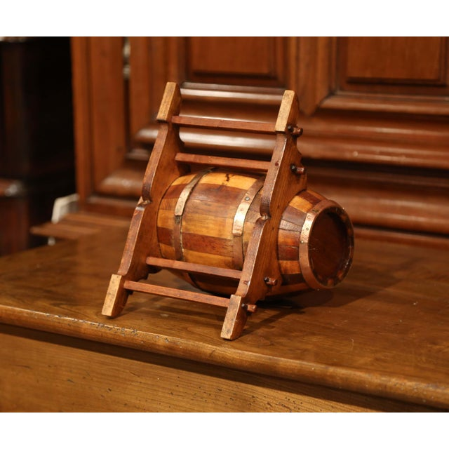 Gold Early 20th Century French Carved Fruitwood and Brass Cognac Barrel on Stand For Sale - Image 8 of 9