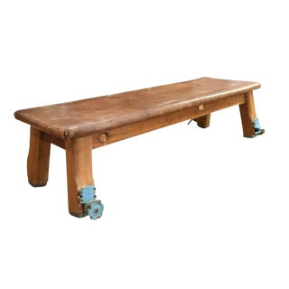 German Wood and Leather Vaulting Bench