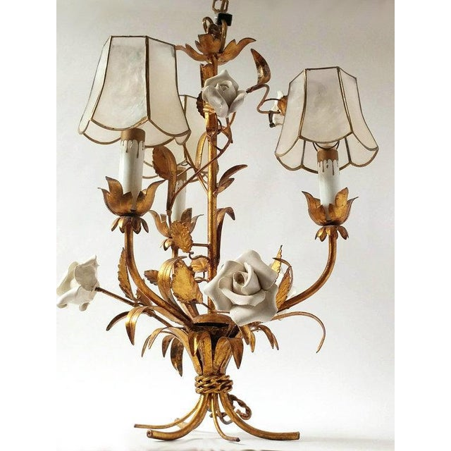 French 1920's Vintage French Toleware 3 Lite Chandelier For Sale - Image 3 of 8
