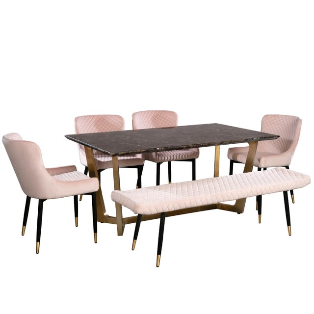Tiana Dining Set in Blush For Sale - Image 4 of 4