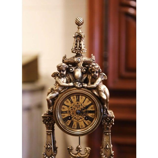 Rococo 19th Century French Louis XV Rococo Gilt Bronze Mantel Clock With Cherubs For Sale - Image 3 of 13